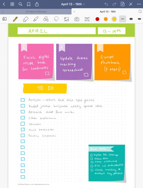 digital planning in goodnotes sticky notes template rainbow color coded blogging daily planner weekly checklist all about planners
