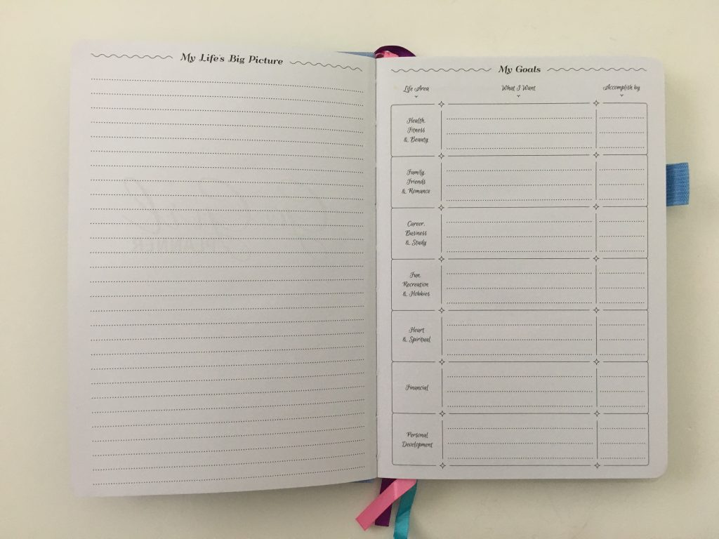 go girl planner review undated weekly monthly sewn bound horizontal lined goals habit tracker checklist bright white paper rainbow stickers pocket folder minimalist_06