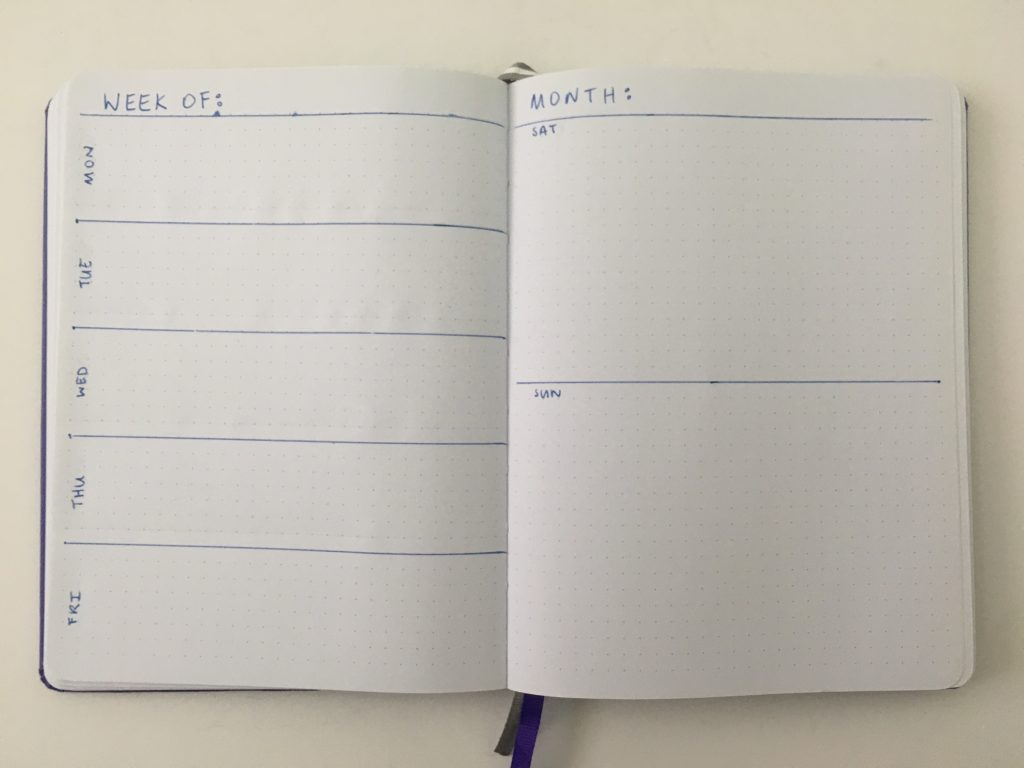 horizontal weekly spread bullet journal bujo inspiration layout ideas monday week start combined weekend checklist goals habits functional_01