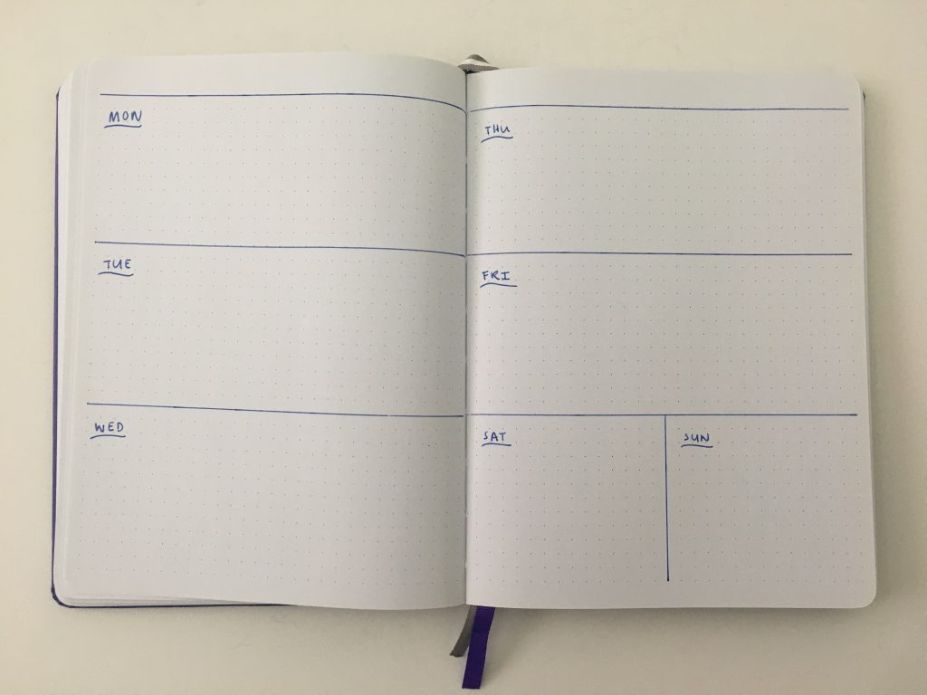 horizontal weekly spread bullet journal bujo inspiration layout ideas monday week start combined weekend checklist goals habits functional_02