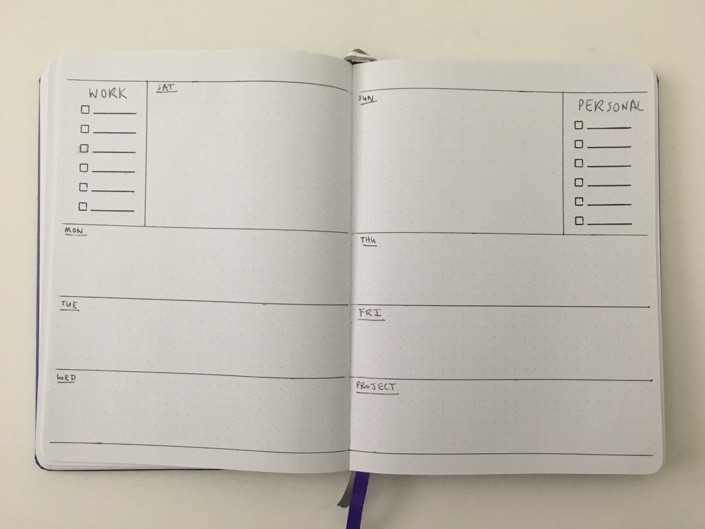 horizontal weekly spread bullet journal bujo inspiration layout ideas monday week start combined weekend checklist goals habits functional_05