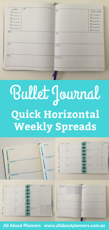 horizontal weekly spreads bullet journal quick simple easy minimalist inspiration layout ideas inspo bujo newbies tips all about planners