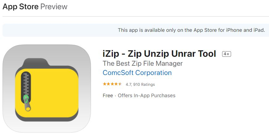 how to use the izip app to unzip files on an ipad