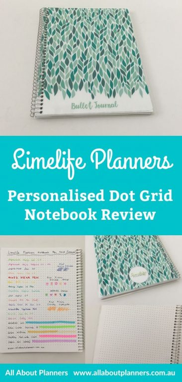 limelife planners personalised dot grid notebook review pen testing paper quality pretty cute bold 5mm dot grid white paper