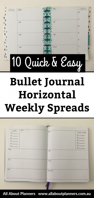 quick and easy bujo horizontal weekly spreads bullet journal inspiration ideas layouts minimalist getting started newbie organized