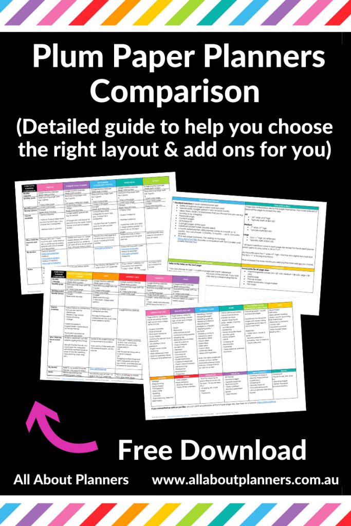 Plum Paper Planners Comparison detailed guide which layout is right for you add on pages compared how to choose a planner all about planners