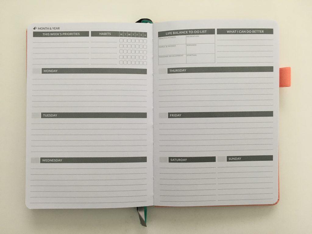 Puffin planner review undated weekly minimalist sv digital horizontal monday week start comibined weekend sewn bound lat flat stickers_19