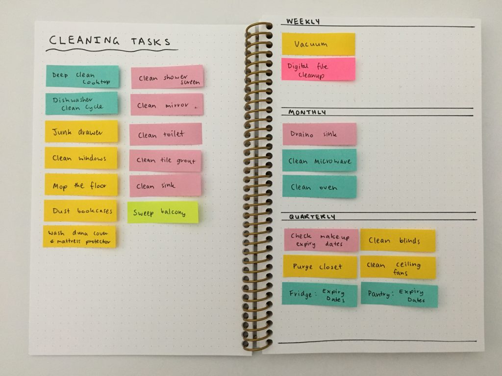 bullet journal cleaning tasks with sticky notes color coded by zone weekly monthly quarterly