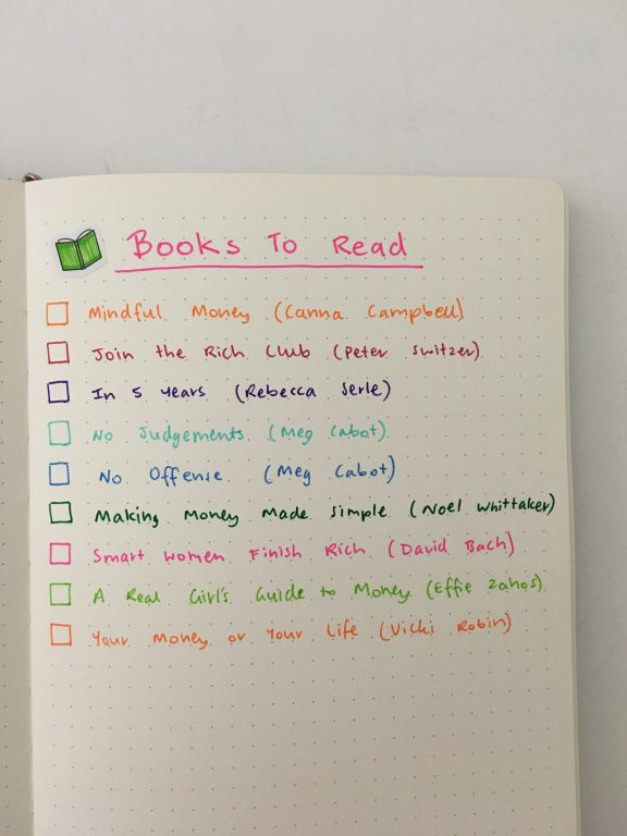 bullet journal to do list books to read simple spread colorful