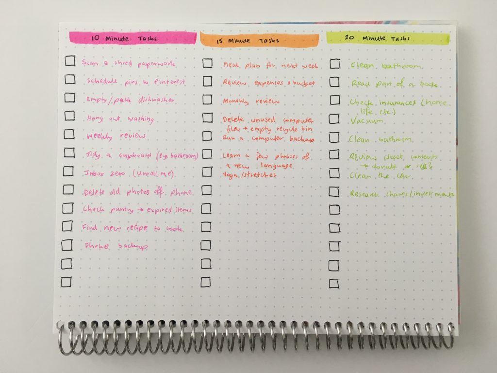 bullet journal to do list checklist page spread ideas must have bujo newbie colorful rainbow tombow brush pens citrus color scheme