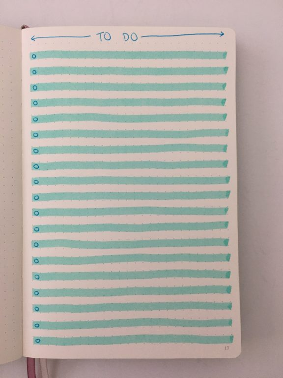 bullet journal to do list layout shaded lines checklist horizontal ombre blue theme