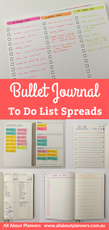 bullet journal to do list spreads colorful sticky notes simple quick easy minimalist priority time based tasks projects organized inspiration ideas