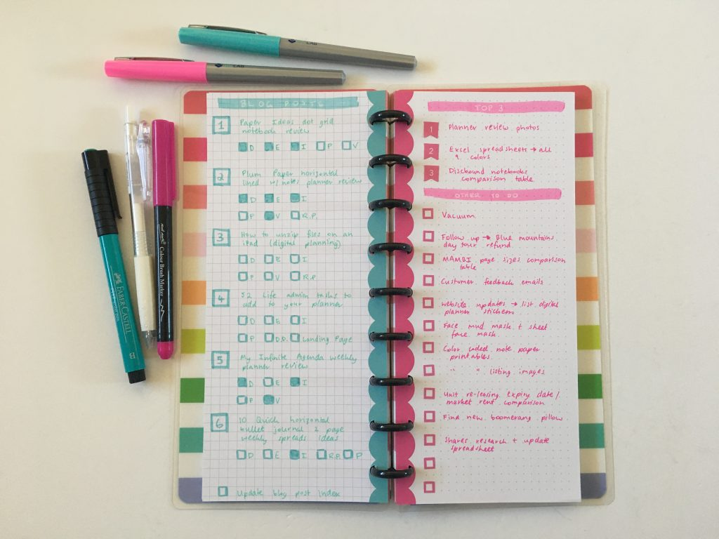 happy planner skinny classic half sheet weekly spread simple bullet journal graph dot grid paper_06