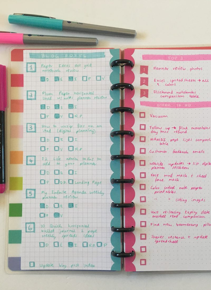Happy Planner Classic Skinny Weekly Spread (Graph versus Dot Grid Paper)