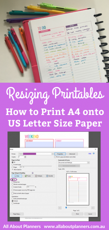 how to resize printables print a4 onto us letter page size without anything getting cut off printing instructions tutorial tips all about planners diy planner american page size 8.5 x 11 inch