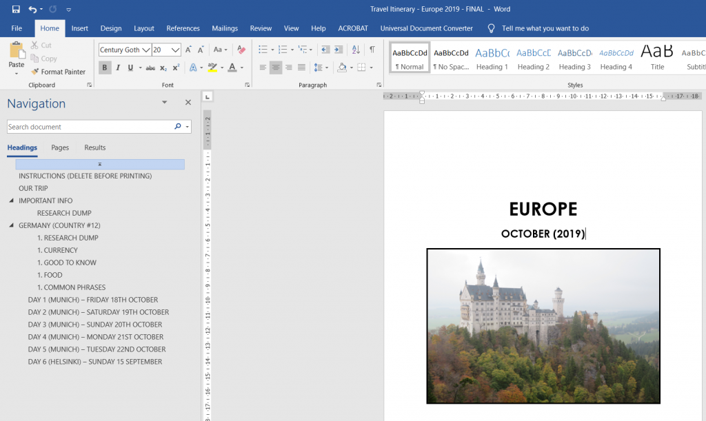 itinerary planner for microsoft word template fully editable ready for printing binding multi-destination helpful resources morning afternoon evening