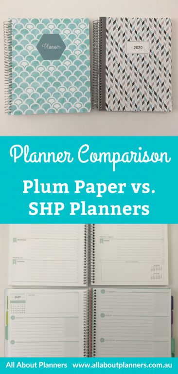 planner comparison SHP Planners versus Plum Paper pros and cons pen testing horizontal layout which is better dupes