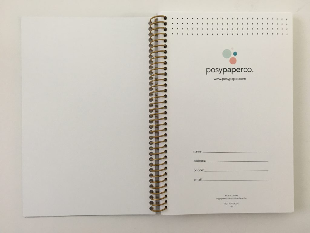 posy paper dot grid notebook review bullet journal personalised coil bound pretty pen testing bright white paper_04