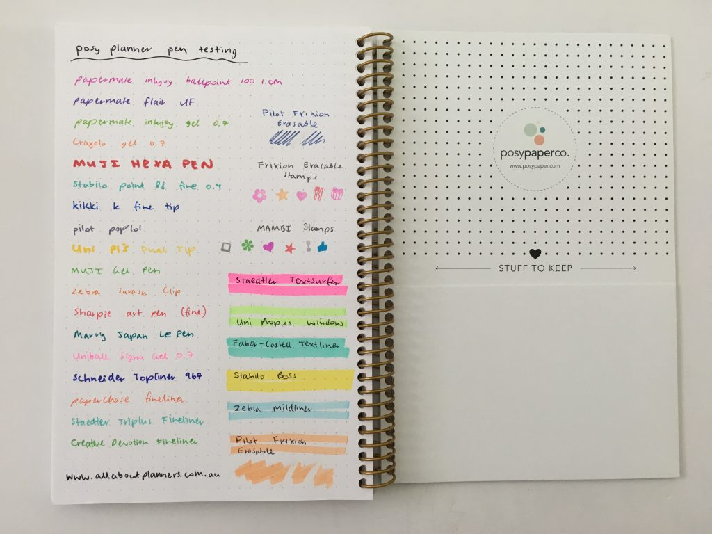 posy paper dot grid notebook review bullet journal personalised coil bound pretty pen testing bright white paper_08