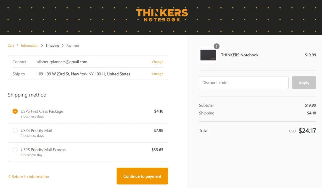thinkers notebook cost of usa shipping united states