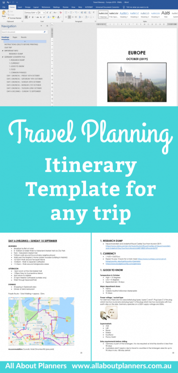 travel planner itinerary template detailed trip planning tool international travel domestic road trip family holiday solo trip all about planners how to plan a vacation resources