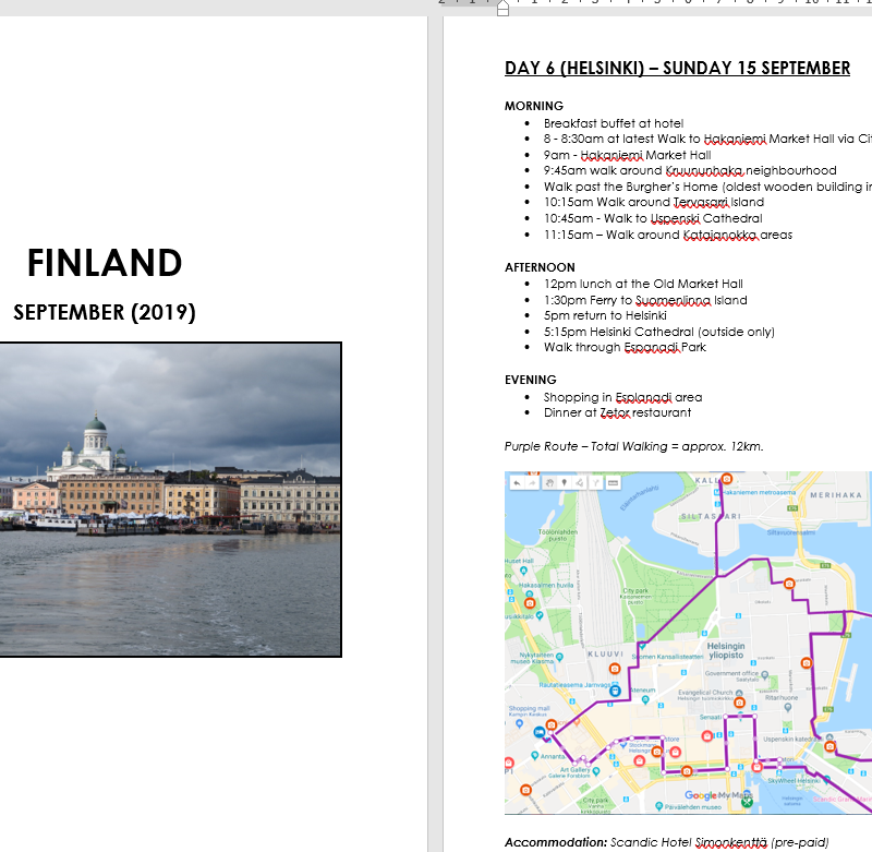 How I use Microsoft Word to plan my travel itinerary (my template & planning process)
