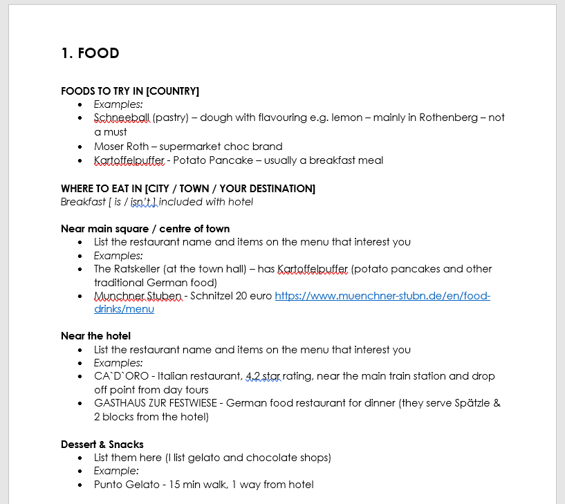 travel planning spreadsheets - food