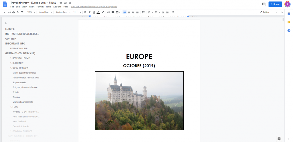 word itinerary planner travel plans vacation international large multi-destination country trip organizer microsoft word google docs apple pages