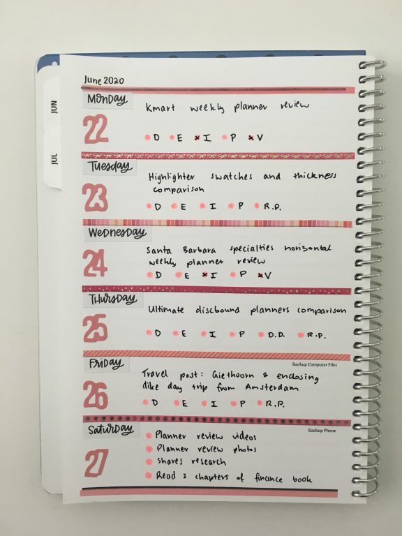 agendio a5 weekly planner custom horizontal weekly spread with notes monday week start unlined blog post planning