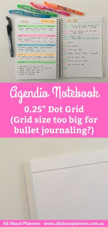 agendio bullet journal 0.25 grid what dot grid size is best for bullet journaling simple rainbow highlighter weekly spread half us letter size notebook personalised bright white paper quick