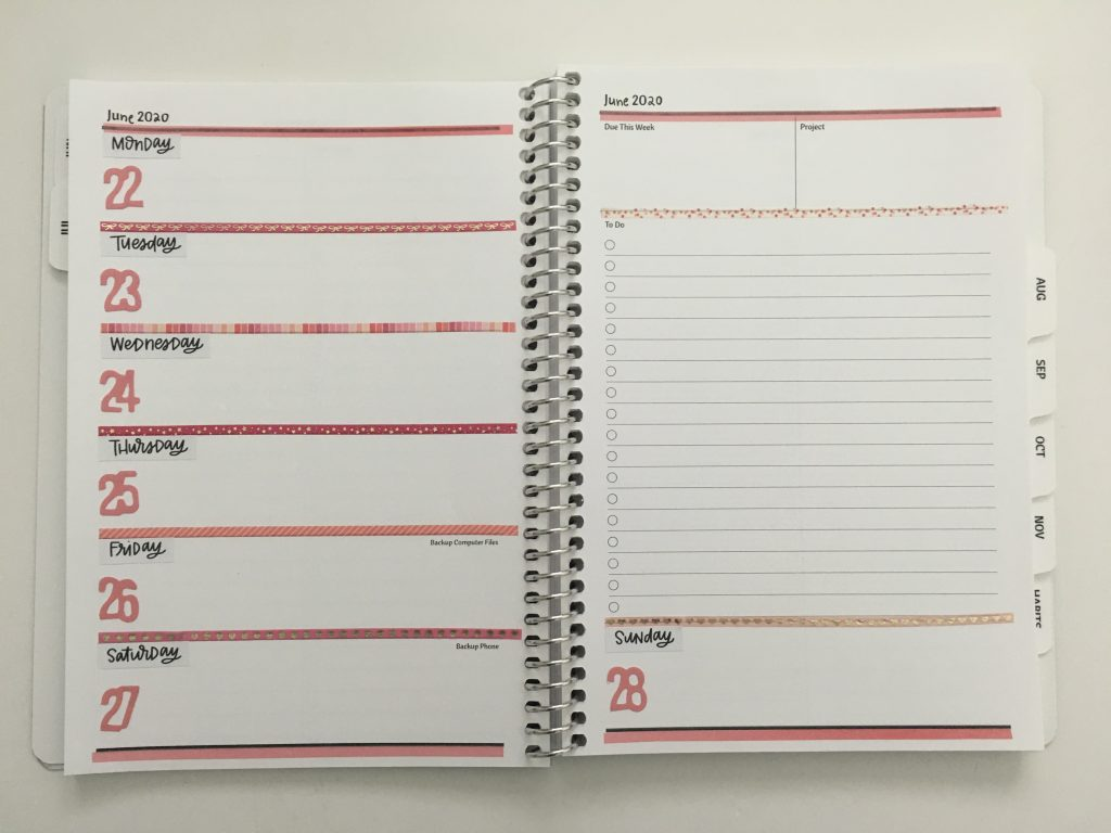 agendio custom weekly planner decorated using the mambi skinny washi tape decorative monday week start checklist horizontal unlined pink theme