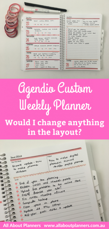 agendio custom weekly planner review minimalist spread monday start horizontal unlined with checklist minimalist decorating mambi washi tape and highlighters