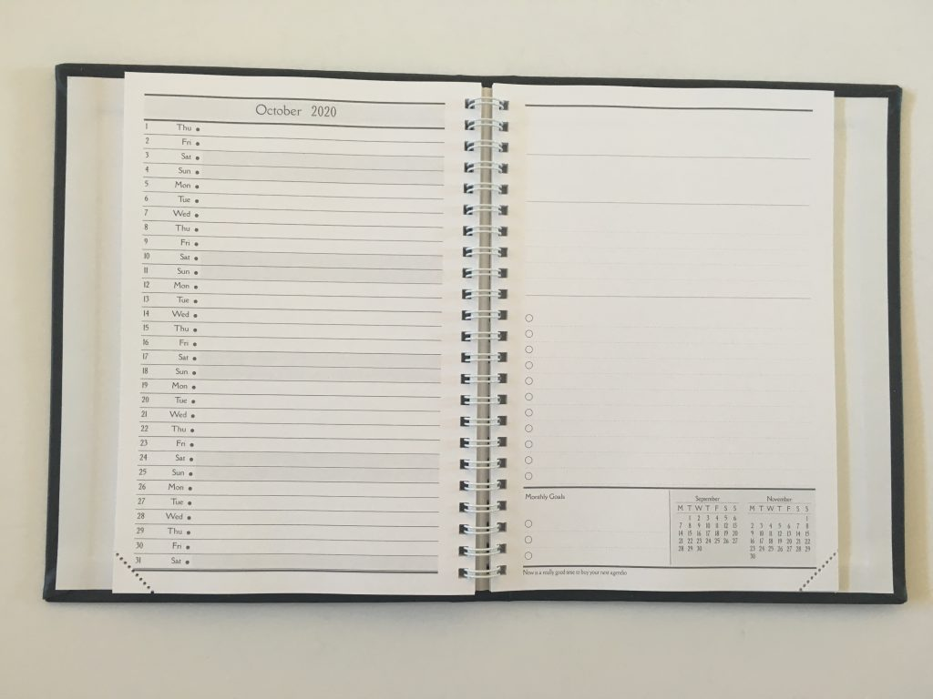 agendio monthly calendar review custom personalised perpetual list checklist lined notes dates at a glance neutral