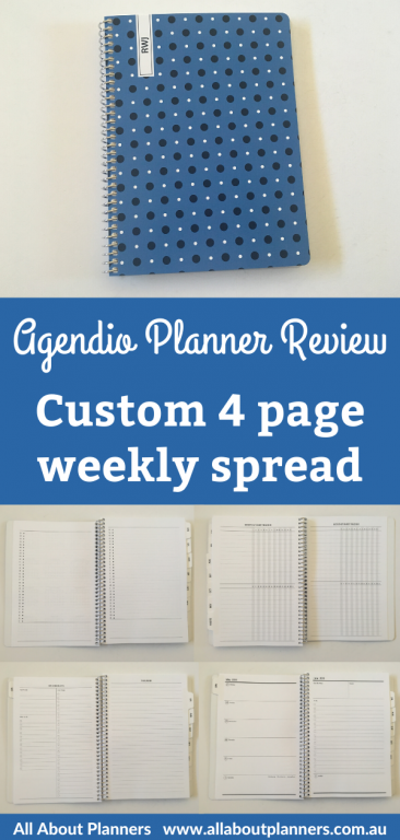 agendio planner review custom 4 page weekly spread personalised coil bound neutral horizontal unlined checklist to do monthly habit tracker 1 page monthly planning