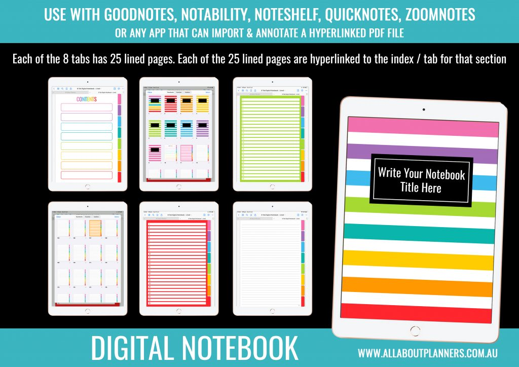 digital notebook color coded 8 subject tabs dividers school study organized notes digital recipe book tabs index hyperlinked