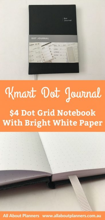 kmart dot journal notebook review dot grid pros and cons cheap affordable bright white paper australian bullet journal video flipthrough pen testing bujo