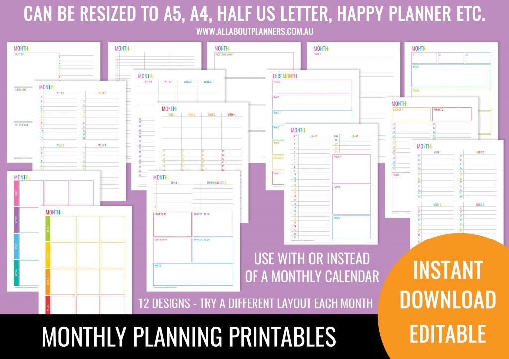 monthly planning printables editable pdf type text before printing fillable rainbow checklist goals planning instant download