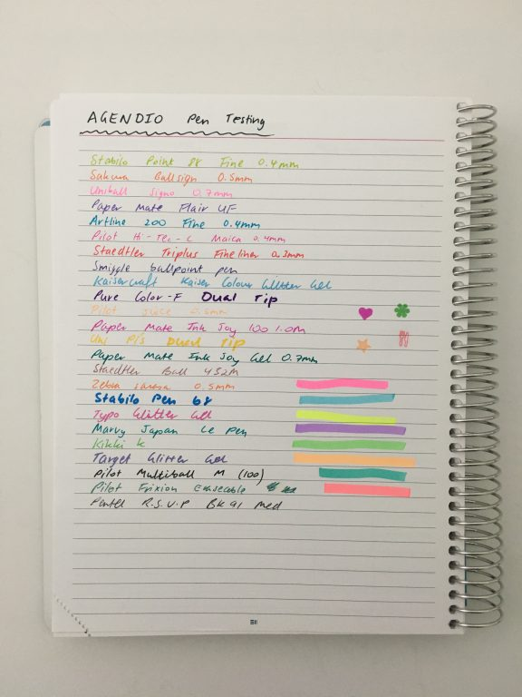 agendio planner pen testing ghosting bleed through highlighters stamps pens fine tip gel ballpoint paper quality 100 GSM