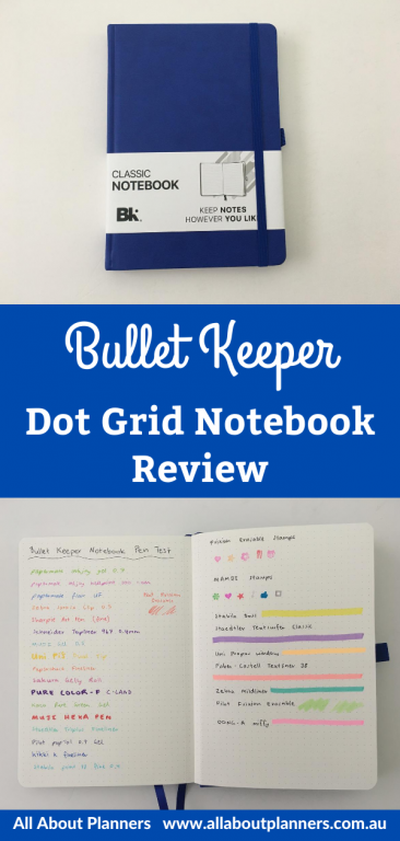 bullet keeper dot grid notebook review pen testing paper quality affordable 15 dollars usd wide page size perforated pages