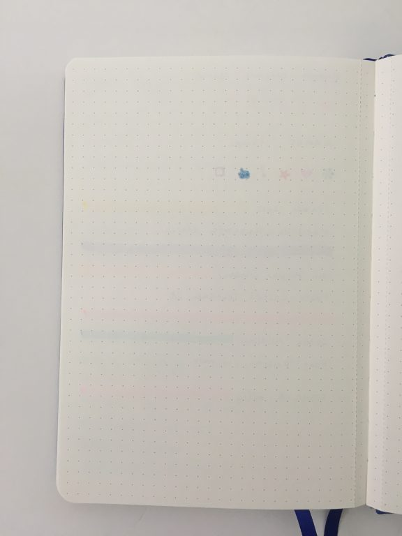 bullet keeper notebook pen testing paper quality ghosting bleed through highlighters fine tip gel pens dot grid bullet journal affordable
