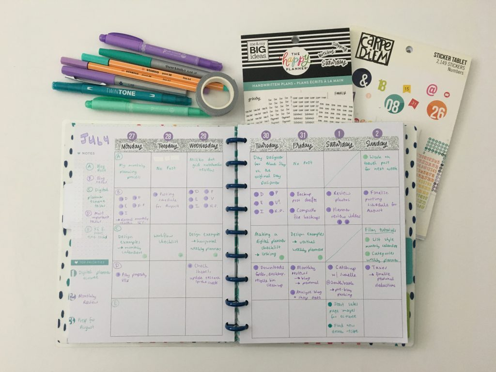 converting mambi happy planner monthly calendar into weekly dot marker glitter washi carpe diem sticker simple minimaliat_04