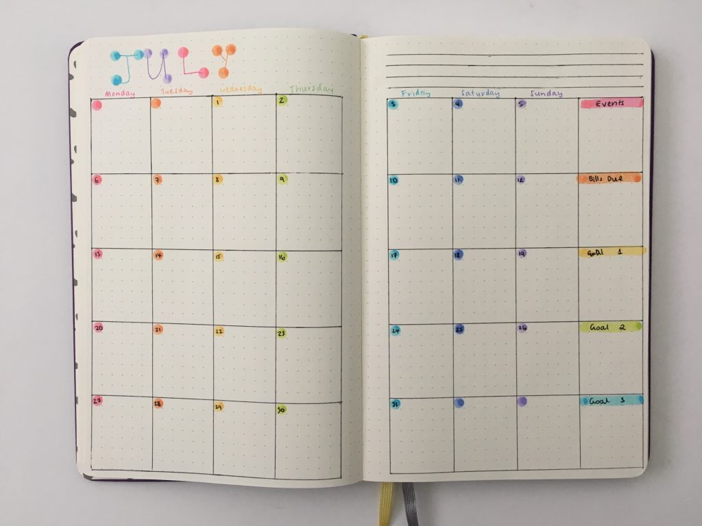 dot marker monthly calendar ideas tombow play color k rainbow color coded simple quick easy alternative to date dot stickers cheap affordable moden stationery bullet journal notebook