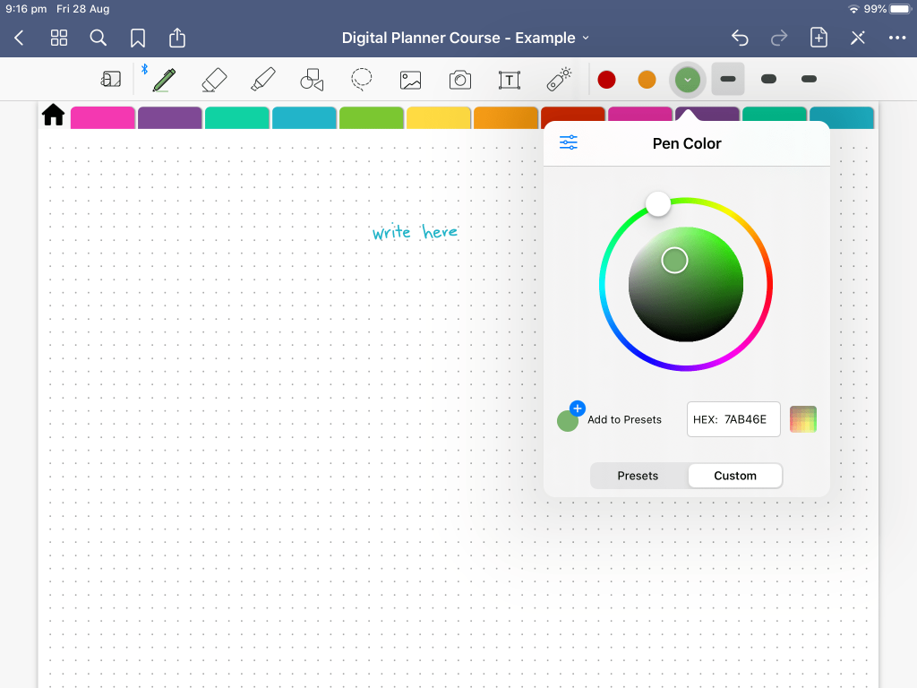 how to change colors in goodnotes 5 tips tutorials digital planning color chart color wheel custom rainbow custom hex code preset favorite