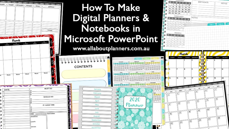 how to make digital planners and notebooks in microsoft powerpoint tutorials video monthly calendar weekly planner daily contents cover checklist dot grid bullet journal