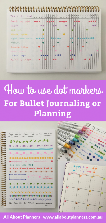 how to use dot markers for bullet journaling or planning tips inspiration ideas weekly spread monthly to do list simple quick easy all about planners