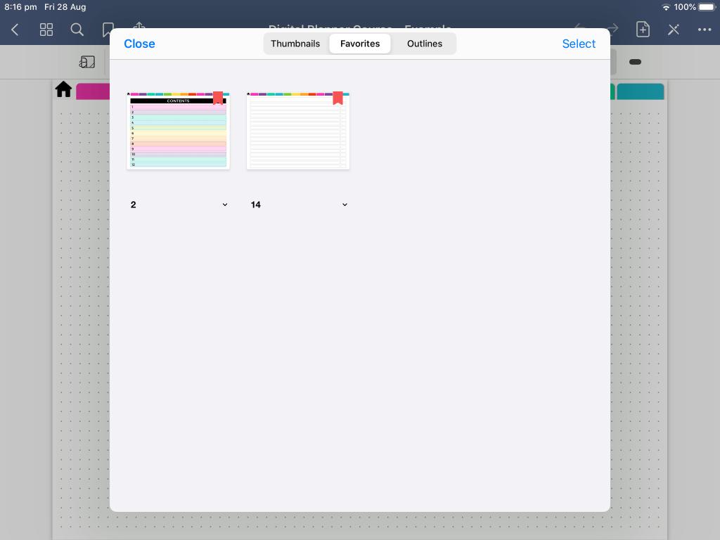 saving favorite pages in goodnotes bookmark digital planning tips ideas newbie digital bullet journal bujo-min
