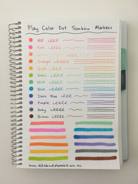 tombow play color k dot markers pen testing rainbow favorite color coding supplies ghosting bleed through plum paper