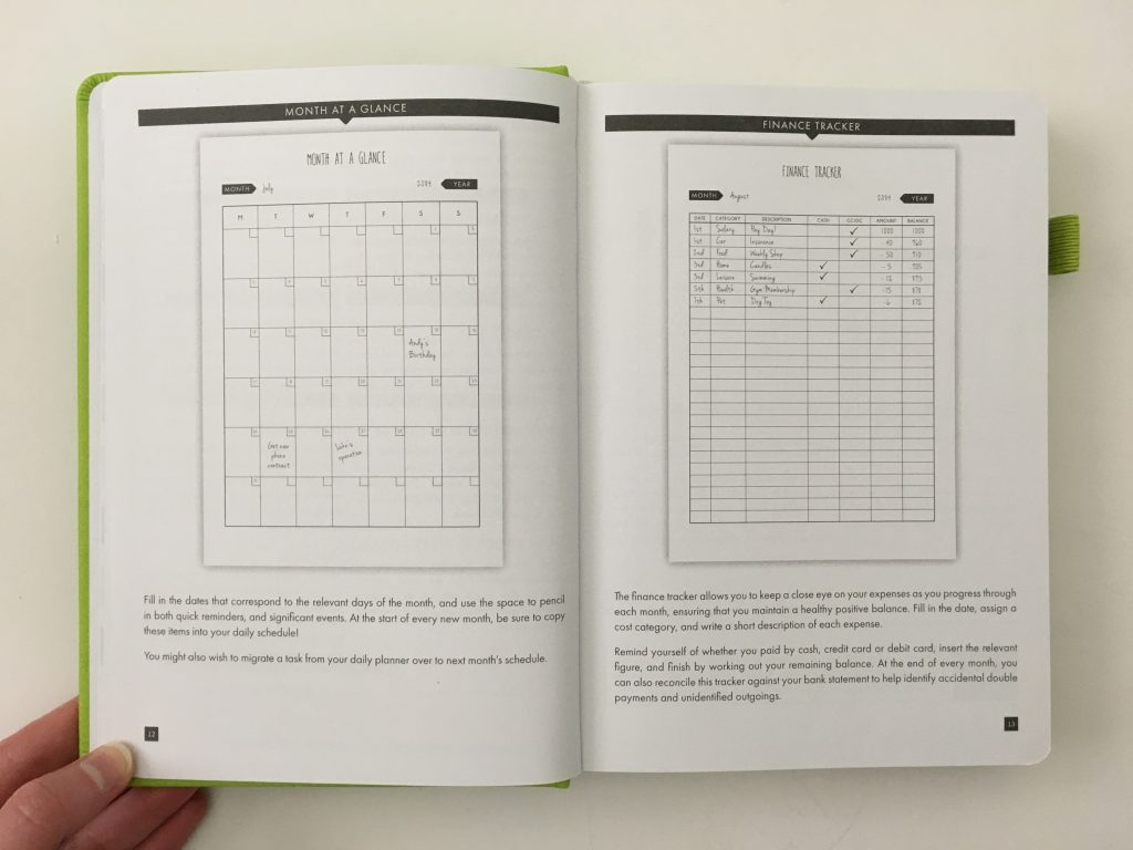 Lux Productivity planner review pros and cons sewn bound dot grid day to a page index weekly planning reflection monthly calendar_08