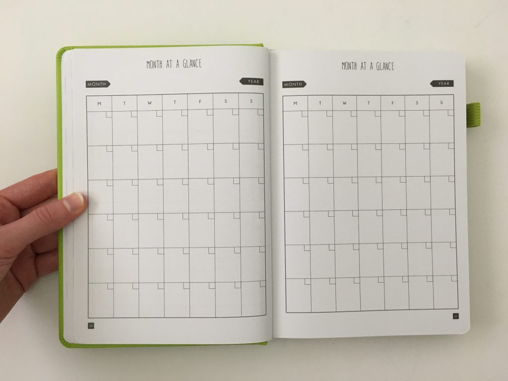 Lux Productivity planner review pros and cons sewn bound dot grid day to a page index weekly planning reflection monthly calendar_14