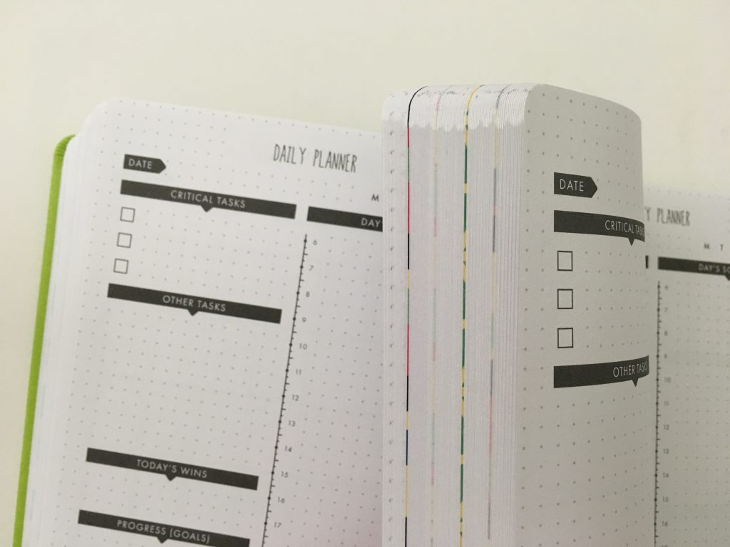 Lux Productivity planner review pros and cons sewn bound dot grid day to a page index weekly planning reflection monthly calendar_16